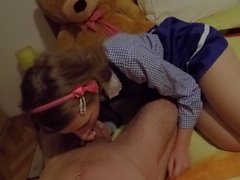 Surprised daddy in my schoolgirl outfit and he got way too horny