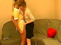 Sexy young maid seduced by a horny mature lesbian