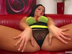 Brunette young busty Kristina fuck a dildo