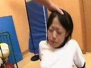 Enticing Japanese teen gets her tight snatch drilled deep f