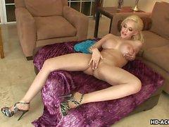 Blonde busty milf has a toy in her cunt she u