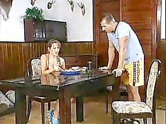 hot german teen double penetration on a table by two friends
