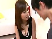 Stacked Oriental mom in lingerie has a young man satisfying