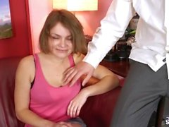 Super hot short hair busty teen let fake agent fuck her ass first time