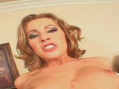 Hungry blonde with natural tits moans while getting nailed hardcore