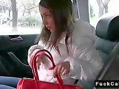 Cute brunette student fucks in a fake taxi