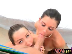 Nasty milf India Summer and young couple 3some outdoors