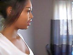 Exotic brunette strip for a camera