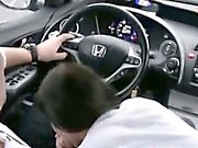 Teen blowjob and swallow in car