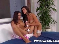 Hot brunettes get pee soaked during intimate pissing lesbian encounter