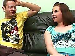 Babe seduced into threesome sex