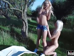 Awesome girls please each other outdoors