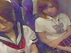 Cum on japanese schoolgirl (night bus)