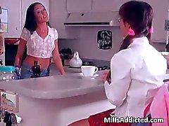 nasty brunette milf caught a sweet asian schoolgirl