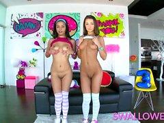 SWALLOWED Tiny teens Maya and Lily blowbang
