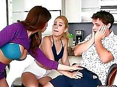 Busty MILF catches teen sucking her BFs shaft