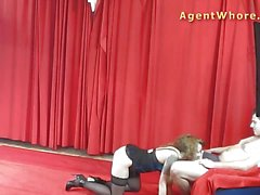 Rampant blonde fucked in casting