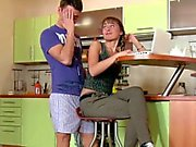 Skinny Step-Sister get fucked by brother when parents away