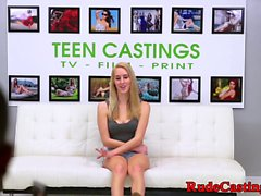 Rough casting audition for gagged teen babe