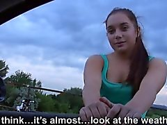 Cute amateur teen hitch hikes and fucked in countryside