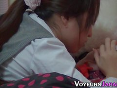 Teen rubbing hairy pussy