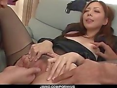 Rough office hardcore trio with hot Maki Mizusawa