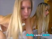 Two blonde teens masturbate together on webcam