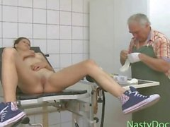 Dirty gyno doctor fingers a hot teen