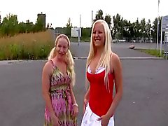 2 young blond german amatures fucking on parking