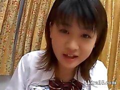 Japanese babysitter gives a blowjob
