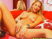Busty Blonde Spreads her Legs and Fingers her Pussy