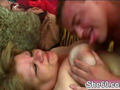 Blonde Fat Granny Venus Sucking Fucking Young Cock