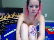Teen double penetrates with toys on webcam