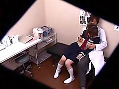 Pigtailed schoolgirl has a horny doctor fingering and bangi
