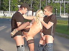 Public GANGBANG sex with beautiful teen Part 3