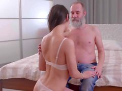 DADDY4K. Grey-haired dad seduces adorable GF of his son...