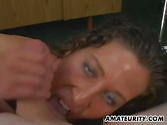Amateur girlfriend blowjob and titjob with facial