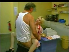 Blonde girl fuck with old