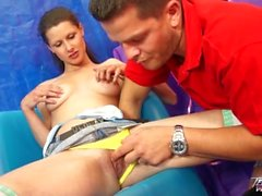 Busty brunette babysitter get wild lesson of fuck with boss