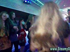 Party girls sucking stripper cock