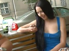 Hot Russian brunette picked up with sweet talk
