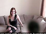 Natural British redhead bangs on casting pov