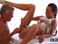 OLD4K. Tanned brunette facialized after amazing sex with old