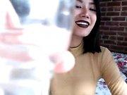 Asian amateur gal in lingerie