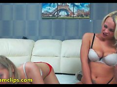 Lovely teen lesbians have fun with toys