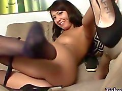 Taboo teen in stockings plays with her feet