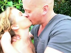 Amateur blonde cutie fucked hard in the backyard