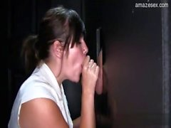 Cute Daughter swallowing and sucking at the gloryhole
