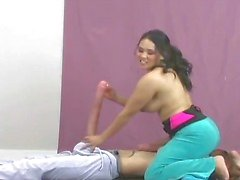 Busty brunette whore going crazy jerking part4