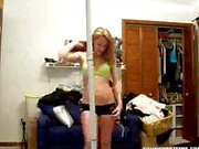 blonde teen teasing and striping on webcam